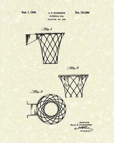 Basketball Hoop 1936 Patent Art Canvas Print / Canvas Art by Prior Art Design