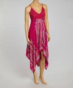 Metro 22 Fuchsia Crocheted Handkerchief Dress   zulily