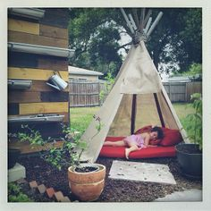 """Homemade Teepee via _ryanmarshall at pacingthepanicroom.blogspot.com    """"they are 2x2 stakes about 10ft length. Stick them in the ground. Decide where your door is. Tie the top together with some good weather proof rope. And then we covered ours with outdoor shade screen, which claims to reduce the temp by 15degrees or some crazy talk like that. We secured it around the frame with a staple gun. That's it. You can totally do this in a couple of hours."""""""