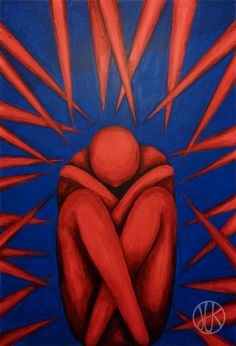 anxiety painting #red #blue #anxiety #paint #painting