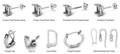 Diamond earrings make wonderful gifts. Learn about stud earrings, drop, hoop, journey, and 3 stone earring styles as well as diamond selection tips. Small Diamond Rings, Diamond Studs, Types Of Earrings, Clip On Earrings, Pierced Earrings, Platinum Earrings, Diamond Earrings, Diamond Jewelry, Earring Backs