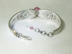 Spoon Bracelet Pink Crystals White Pearls by SpoonfestJewelry