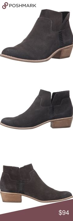 Dolce Vita suede Ankle Booties Worn once and decided they weren't for me. Gorgeous booties!! I'm trying to get most of my money back so I can buy a different pair so price is firm unless bundled! Smooth leather strap detailing on sides for contrast. Soft textile lining and synthetic-cushion insole. Faux-stacked heel creates a touch of height. Synthetic outsole. Dolce Vita Shoes Ankle Boots & Booties