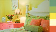 Este es un gran ejemplo de como combinar los tonos cítricos para decorar una habitación. Estos colores crean ambientes cálidos y llenos de vida. #DecoTips