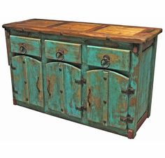 This Mexican Colonial style painted wood buffet, with extra thick doors and drawers, is accented with braided iron hardware and nailheads. This Mexican buffet will enrich any southwest or rustic decor with its colorful antique look. Painting Wooden Furniture, Home Decor Furniture, Cheap Furniture, Furniture Plans, Painting On Wood, Furniture Movers, Furniture Stores, Business Furniture, Furniture Websites