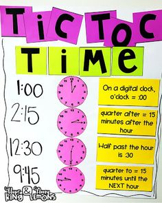 Tic Toc Time Chart: Teaching telling time with quarter after, half past, and quarter to Telling Time Activities, School Age Activities, Teaching Time, Teaching Math, 2nd Grade Teacher, Second Grade Math, Grade 2, Fun Math, Math Class