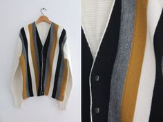 1950s Striped Cardigan / Vintage 50s Men's by SavvySpinsterVintage, $50.00 Rockabilly Outfits, Vintage Hawaiian Shirts, 1960s Fashion, Striped Cardigan, Black Button, Vintage Wear, Vintage Sweaters, Red Stripes, Black N Yellow