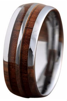 This is a genuine koa wood tungsten double row wedding ring. This ring has been designed with a tungsten strip going through the center of the ring. The profile of this ring is a oval shape which make