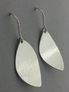Dangle Earrings, Hammered Earrings, Sterling Silver, Abstract Leaf Shape Earrings, Handmade, Ready to Ship