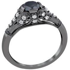 This is so elegant.  Black Diamond Engagement Ring.  i love this one!