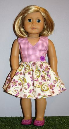 c76c570ad67d 18 Inch Doll like American Girl Purple Floral and by SewLikeBetty Sewing Doll  Clothes