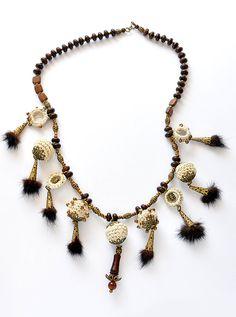 Necklace, Mink Fur, Metal Beads, Wooden Beads, Accessory, Бусы, Crochet beads, Present, Beads,Handmade Necklace,Handmade Beads,One of a kind
