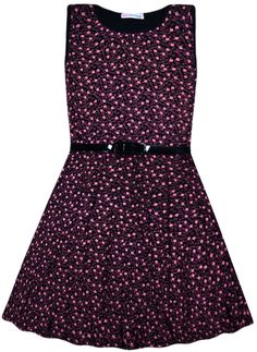 ac952aaa951a Details about Girls New Ditsy Floral Skater Dress Kids Party Black Dresses  7 8 9 10 11 12 13 Y