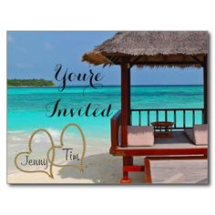 beach love hearts bridal branches you're invited