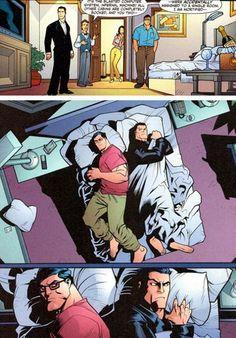 Superman y Superman peliendo por una sábana
