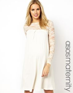 ASOS Maternity | ASOS Maternity Swing Dress With Lace Sleeves at ASOS