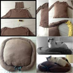 Upcycling a jumper into a cat bed