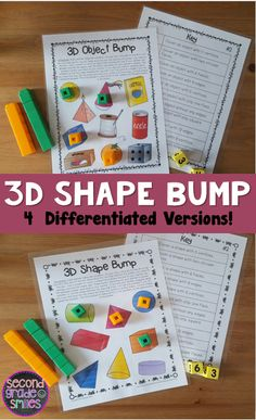 3D Shape Bump Games- 4 differentiated games help your students practice recognizing three-dimensional shapes and their defining attributes with specific vocabulary. Vocabulary terms used include cube, rectangular prism, cylinder, pyramid, cone, sphere, faces, edges, and vertices. $