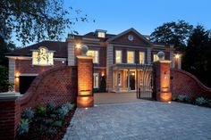 Lighting the entrance to this Neo-classical style Surrey mansion Luxury Homes Exterior, Luxury Homes Dream Houses, Dream House Exterior, Exterior Design, Outside Lighting Ideas, House Plans Uk, Affordable House Plans, Mansion Designs, Luxury Mansions