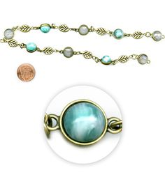 """Blue Moon Beads 14"""" Strand, Metal Connectors, Ox Brass with TurquoiseBlue Moon Beads 14"""" Strand, Metal Connectors, Ox Brass with Turquoise,"""