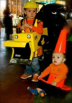halloween costumes bulldozer and cone