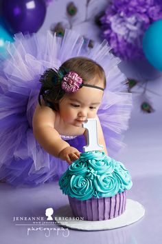 Purple and teal giant cupcake cake smash. Girl peacock theme Miss A is one! Purple and teal giant cupcake cake smash. Girl peacock theme Miss A is one! Baby Girl 1st Birthday, 1st Birthday Photos, Mermaid Birthday, 1st Birthday Parties, Birthday Ideas, Girl 1st Birthdays, 1st Birthday Cake Smash, Girl Birthday Themes, Birthday Tutu