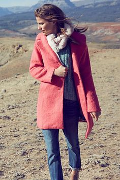 pretty pink coat blue jeans women fashion clothing outfit style apparel white scarf