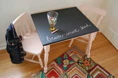 This kids table and chair set was in good condition, but was a bit plain and somewhat dated. As you might guess, a new coat of paint gave it a completely new look and life.