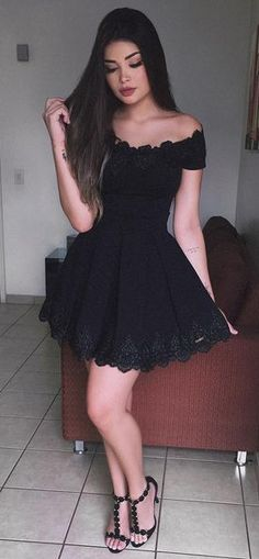 Black Prom Dresses,A-Line Prom Dress,Off-The-Shoulder Homecoming Dresses,Black Homecoming Dresses,Short Homecoming Dress,Lace Homecoming Dresses