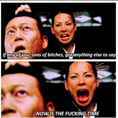 A scene from Quentin Tarantino's Kill Bill: Vol.1 with the beautiful Lucy Liu.  Her and Uma Thurman are complete badasses.