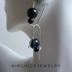Black gemstone hooked hoops earrings, sterling silver, black onyx, snowflake obsidian
