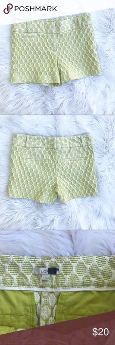 """Loft Honeycomb Textured Shorts These shorts are so cute and fun! Light green honeycomb pattern textured shorts. In like new condition. Marker on tag. Size 2. 55% polyester, 45% rayon. Waist - 15"""", inseam 3.5"""", rise - 8.5"""", hip - 16.5"""". LOFT Shorts"""