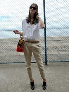 white shirt + cropped pants + ankle boots
