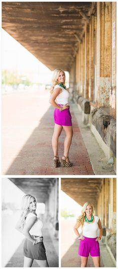 Senior portrait ideas, female senior photography, down town, downtown, fort worth, old buildings, blonde, beautiful, purple shorts, white top, teal necklace, chunky necklace
