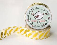 Feathers Washi Tape - Gold Foil Scrapbook Tape, Planner Tape, 1 roll, 15mm x 10m