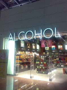ALCOHOL sign at liquor store.