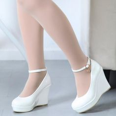 Featuring faux leather upper, pure color,platform and wedge heels, buckle strap closure is part of White wedge shoes - White Wedge Shoes, White Platform Shoes, Platform Wedges Shoes, White Wedges, Shoes Heels Wedges, Wedge Heels, High Heels, White Sandals, Heeled Sandals