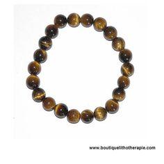 Joli bracelet fait de perles rondes 8 mm en oeil de tigre naturel poli de belle qualité en vente BoutiqueLithotherapie.com