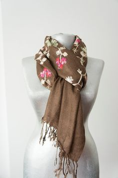 Embroidered Scarf Unique Scarf Floral Scarf Women Scarf by Urbe