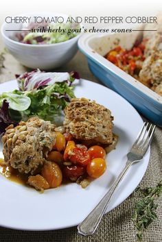 Cherry Tomato and Red Pepper Cobbler with Herby Goat's Cheese Scones
