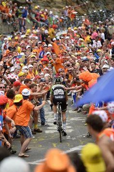 Lars Boom (Belkin) in de Dutch corner on the Alpe d'Huez