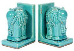Aqua Ceramic Elephant Book Ends