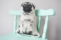Pug dog cushion / pillow - screenprinted in black / monochrome by andMenagerie on Etsy Animal Cushions, Dog Cushions, Pillows, Pillow Talk, Pugs, Monochrome, Cushion Pillow, Screen Printing, Cotton Fabric
