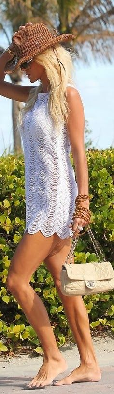 Sleeveless White Lace Dress With Channel Bag Click for more