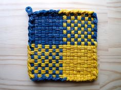 Blue and Yellow Check Color Block Pattern Woven Cotton Loop Loom Potholder Vintage Ikea Colors Modern Kitchen Farmhouse Style. $4.00, via Etsy.
