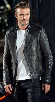 New Men David Beckham Black Slim Fit Biker Real Cow Leather Movie Replica Jacket Leather Jacket Outfits, Leather Trousers, Leather Jackets, Biker Jackets, Men's Jackets, David Beckham, Leather Fashion, Mens Fashion, Boy Fashion
