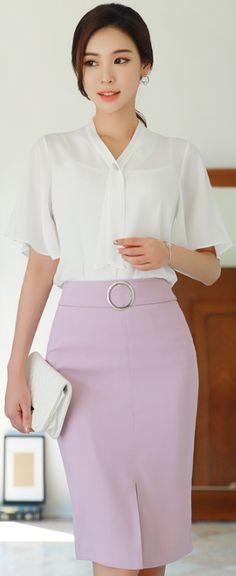 StyleOnme_Circle Buckle Front Slit Pencil Skirt #pink #feminine #pencilskirt #summertrend #koreanfashion #kstyle #kfashion #seoul #elegant #dailylook