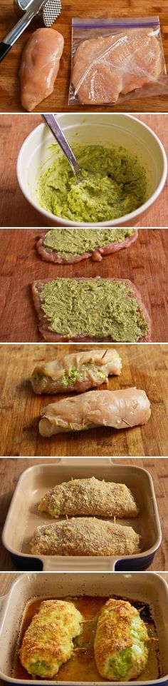 Pesto and Cheese Stuffed Chicken Rolls. Made these I used bread crumbs instead and yogurt in place of sour cream. They were great but would've preferred more pesto filling! New Recipes, Cooking Recipes, Favorite Recipes, Healthy Recipes, Recipies, Recipes Using Pesto, Dinner Recipes, Yummy Recipes, Cooking Tips