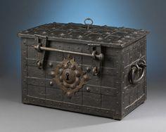 Antique Boxes, Antique Safe, German Baroque Iron Chest ~ M.S. Rau Antiques