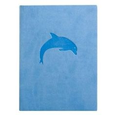 Blue Embossed Dolphin Leather Journal - Lined 5x7